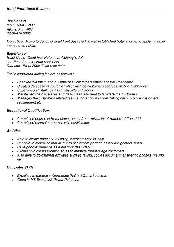 Hotel Front Desk Resume Sample | Free Resumes Tips