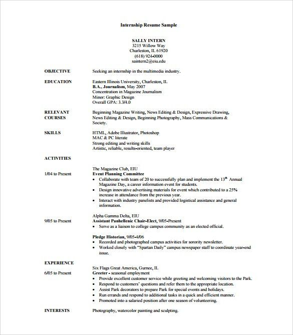 Examples Of Resumes For Internships. College Resume Example Best ...