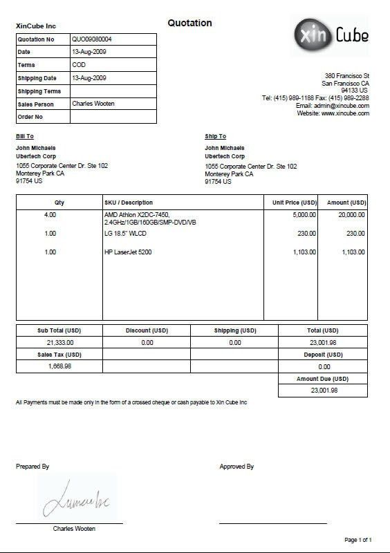 Invoice Quotation | free printable invoice