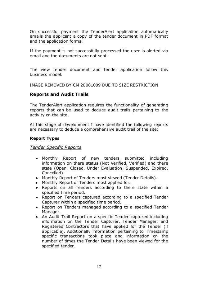 User Requirement Specification for Tender Alert Website