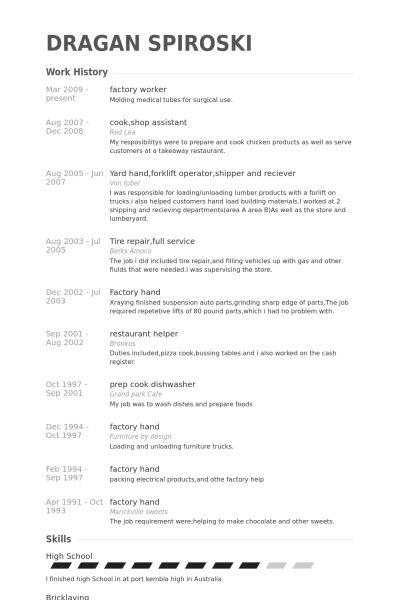 Factory Worker Resume samples - VisualCV resume samples database