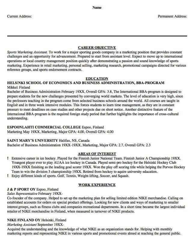 Sample Resume Sports Marketing Assistant - http://resumesdesign ...