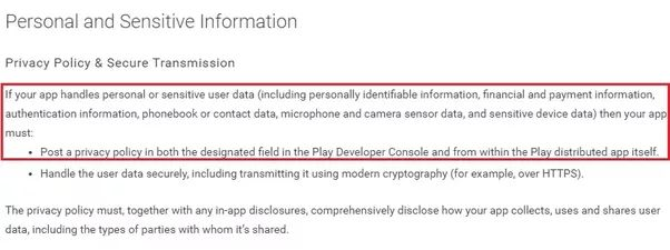 Does the Google Play Store require you to have a terms of use and ...