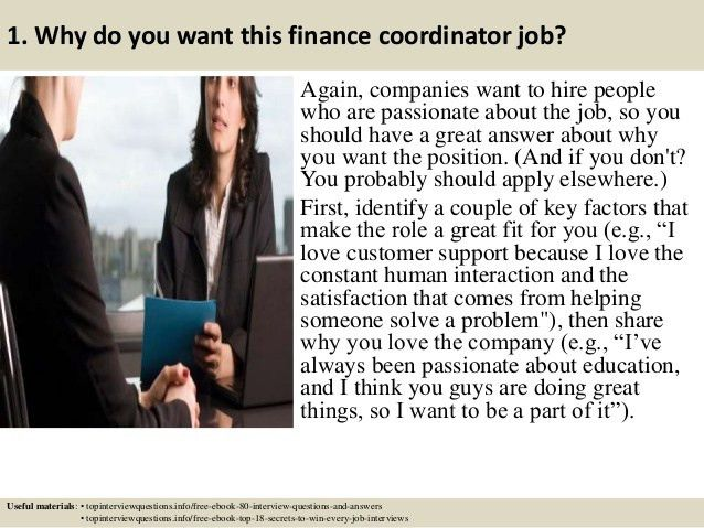Top 10 finance coordinator interview questions and answers