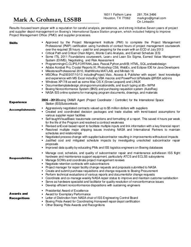 Mark Grohman Resume with Recommendation