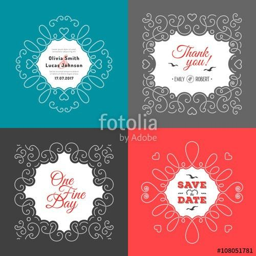 Invitation card set. Wedding design template, postcards ...