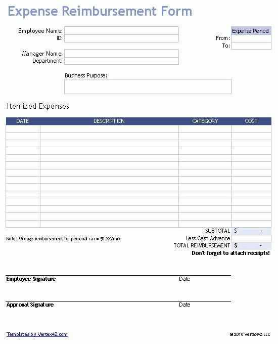 Free Expense Reimbursement Form for Excel
