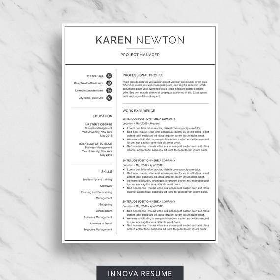 Minimalist resume template for Word. 1, 2 and 3 page resume with ...