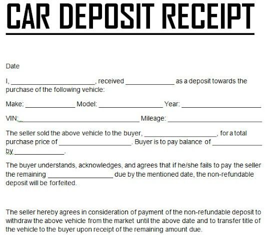 CAR DOWN PAYMENT DEPOSIT RECEIPT TEMPLATE