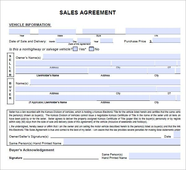 6 Free Sales Agreement Templates - Excel PDF Formats