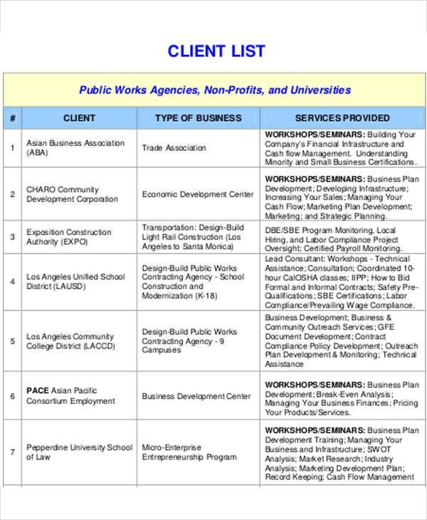 Client List Template - 9+ Free Word, PDF Format Download   Free ...