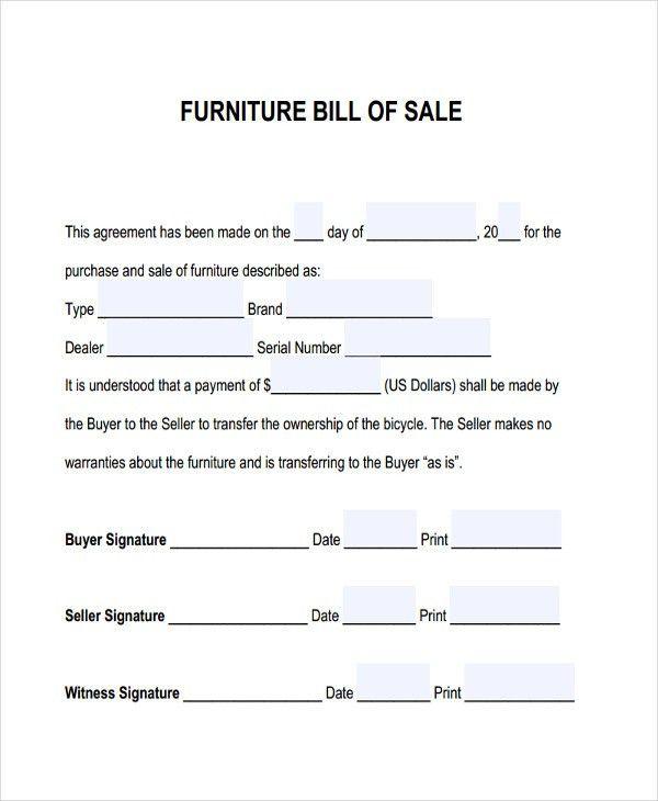 Furniture Bill Of Sale | Free & Premium Templates | Bill of Sale ...