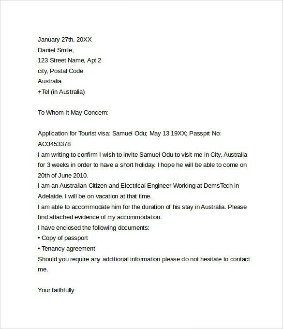 How To Write An Application Letter For Visa Letter Of Invitation ...