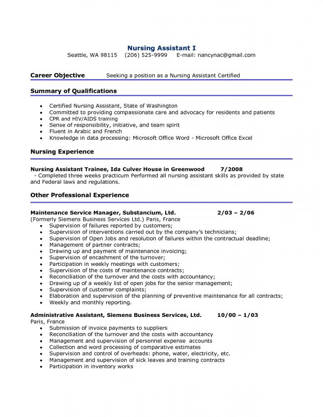 10 cna resume sample no experience job duties cna cover letter - Cna Resume Sample With No Experience