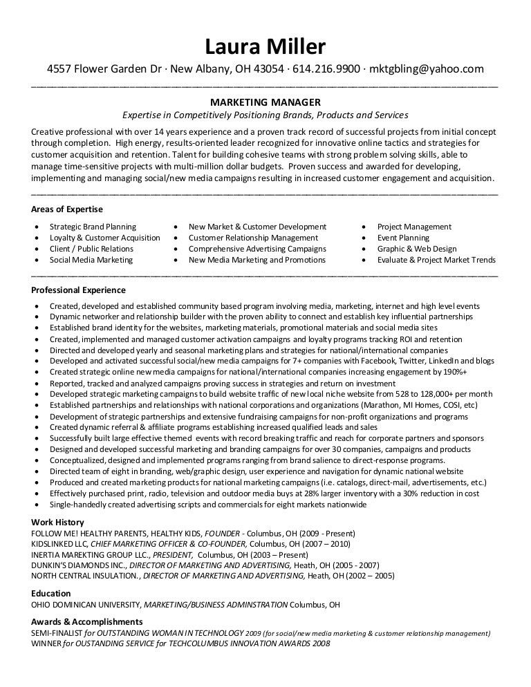 Laura Miller Resume Marketing Manager