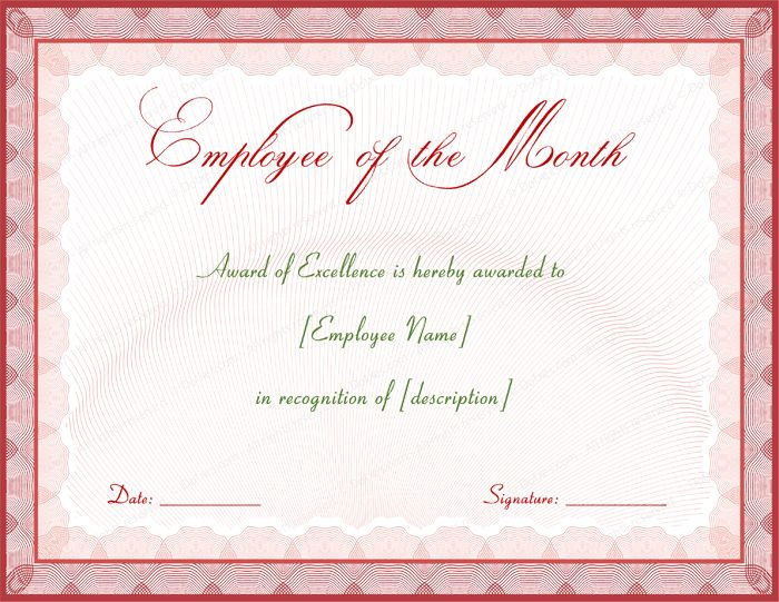 Excellent Employee Performance Award Certificate Designs