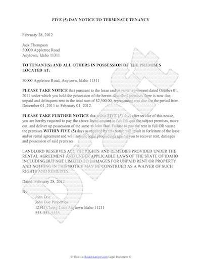 Letter Of Notice. 30 Day Notice To Landlord Letter Template ...