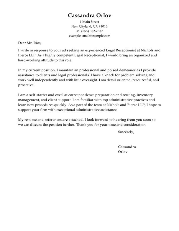 Inspirational Cover Letter Sample For Receptionist 63 About ...
