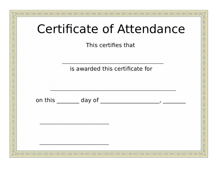 Printable Attendance Certificates | Blank Certificates