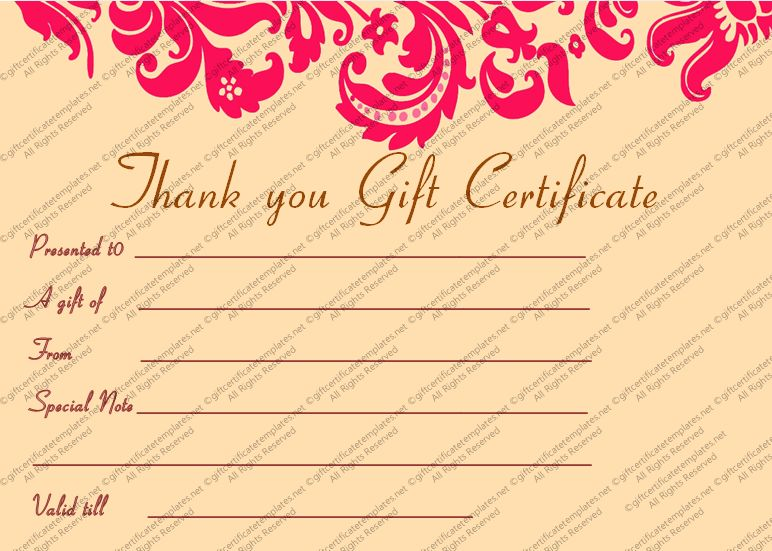Printable Pink Swirls Thank You Gift Certificate Template