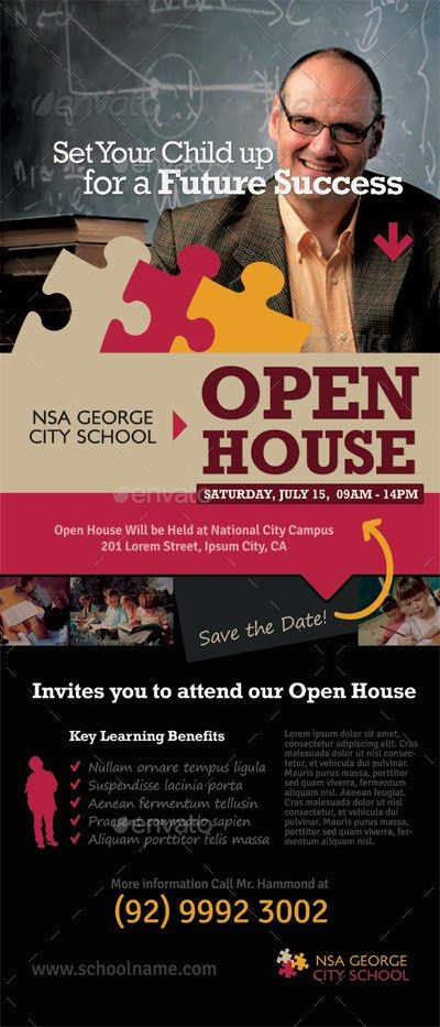 School Open House Roll-up Banner Templates by kinzi21 | GraphicRiver