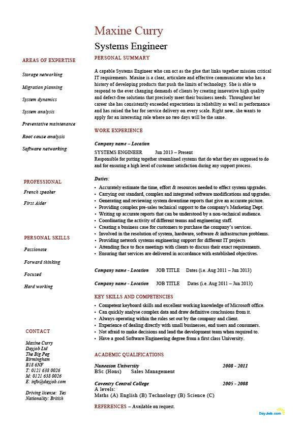 Systems engineer resume, example, sample, IT, security, future ...