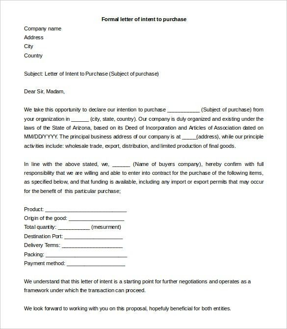 Simple Letter of Intent Templates - 18+ Free Sample, Example ...