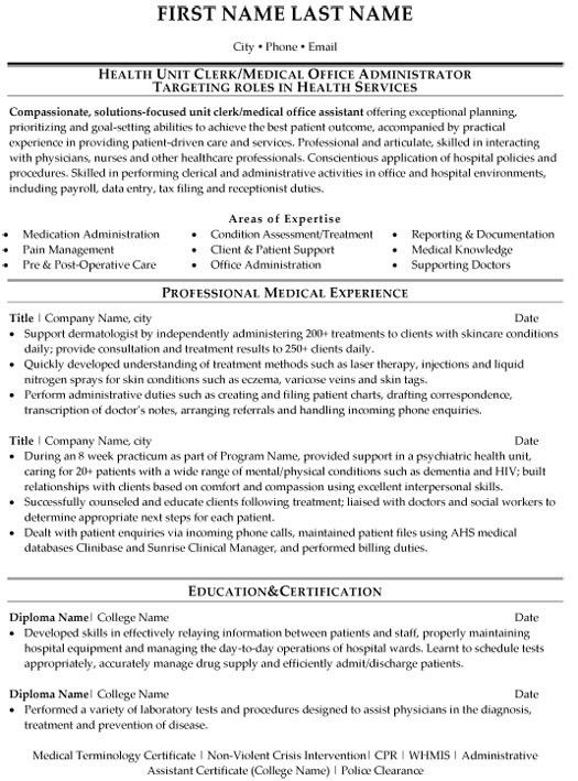 Medical Clerk Sample Resume 4 Weather Microsoft Action Plan ...