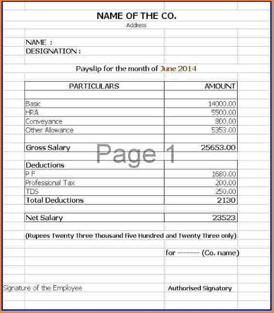 10+ free sample payslip template excel | Salary Paper Format