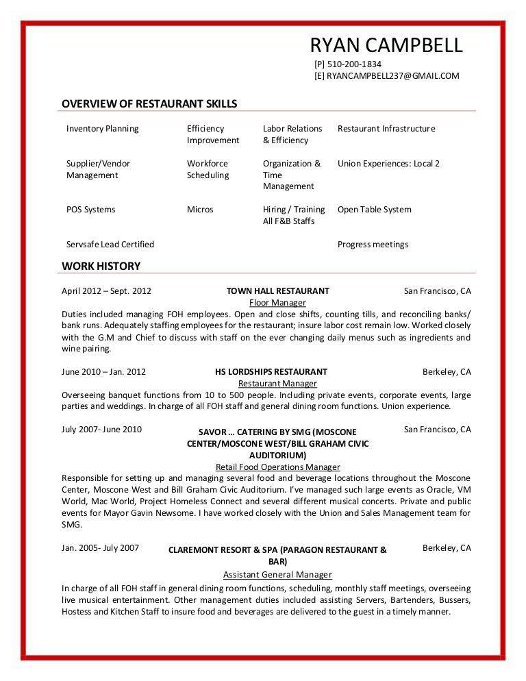 Restaurant Resume Example Resume Format Download Pdf. Best Busser .