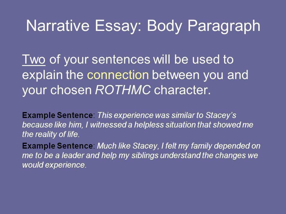 Narrative Essay: Body Paragraph The body paragraph will... Develop ...