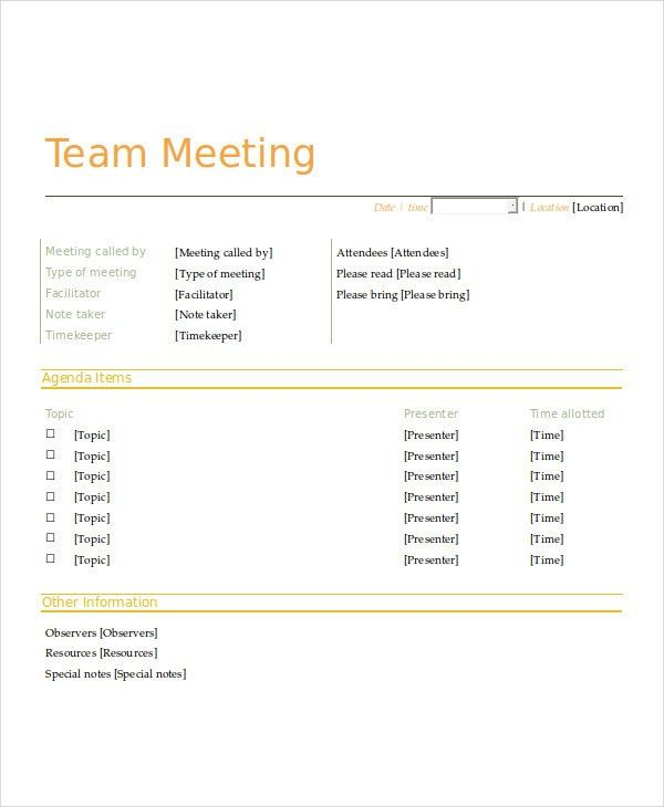 Staff Meeting Agenda. Hr Staff Meeting Agenda Sample Template 9+ ...
