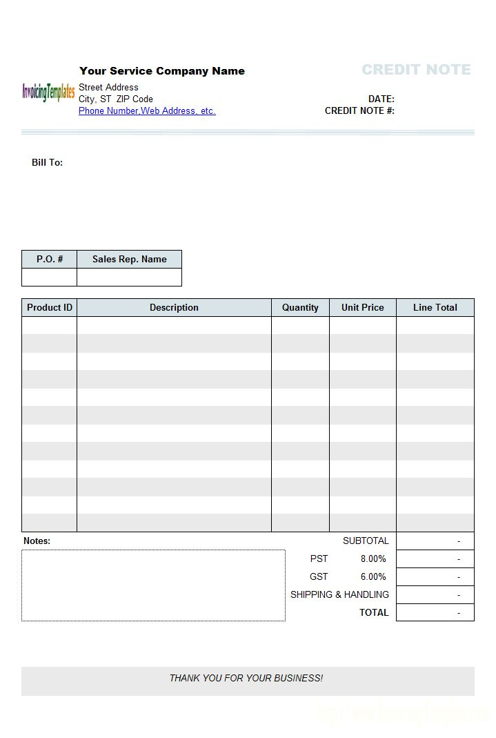 Editable Invoice Templates For Excel