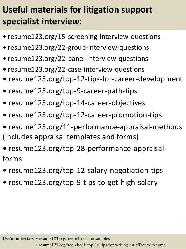 Top 8 litigation support specialist resume samples