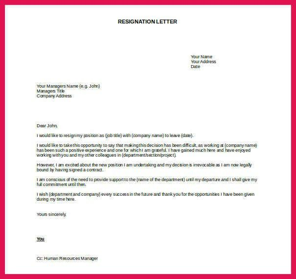 template for resignation letter | sop examples