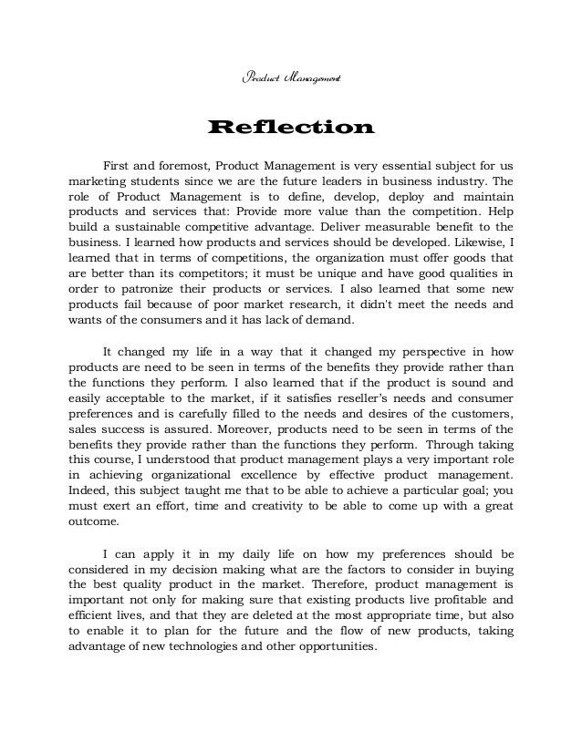 REFLECTION ON CONSUMER BEHAVIOR, METHODS OF RESEARCH AND PRODUCT MANA…