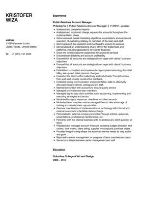 Public Relations Account Manager Resume Sample   Velvet Jobs