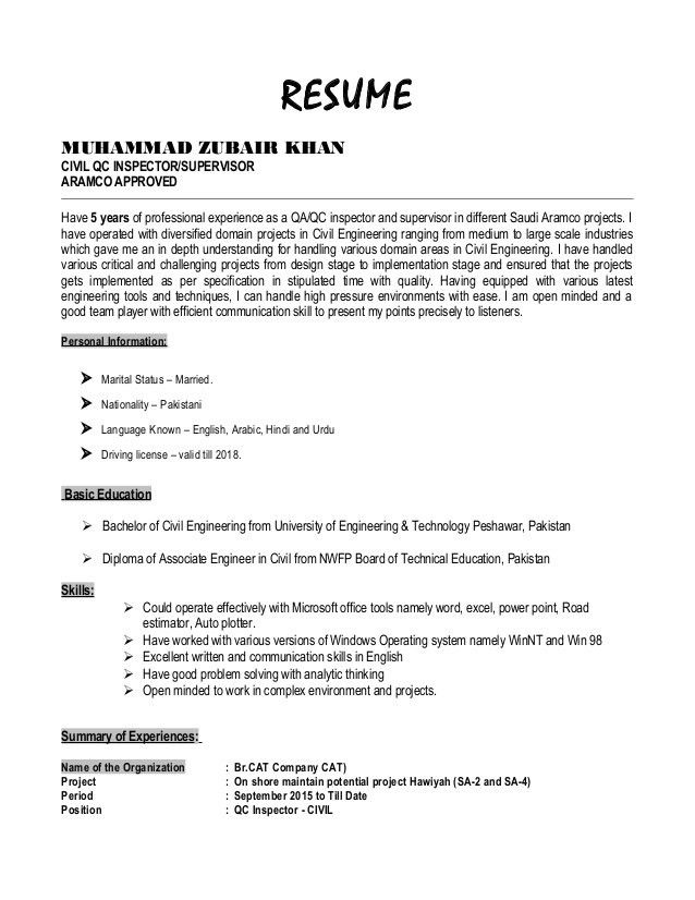 Resume - Zubair Khan - Civil QC Inspector