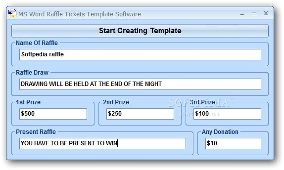 MS Word Raffle Tickets Template Software Download