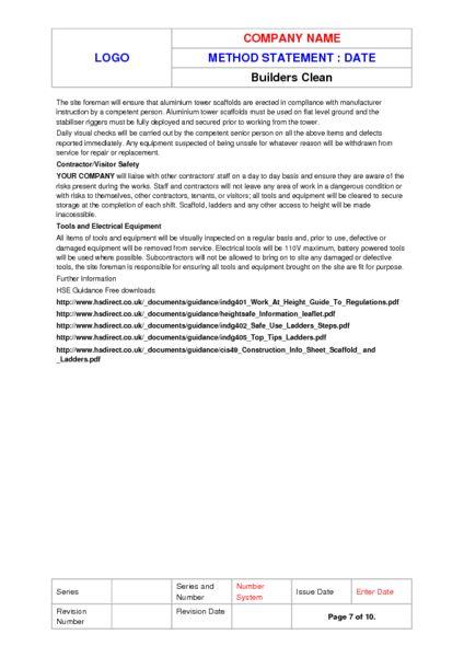 Builders Clean Method Statement Example to Download