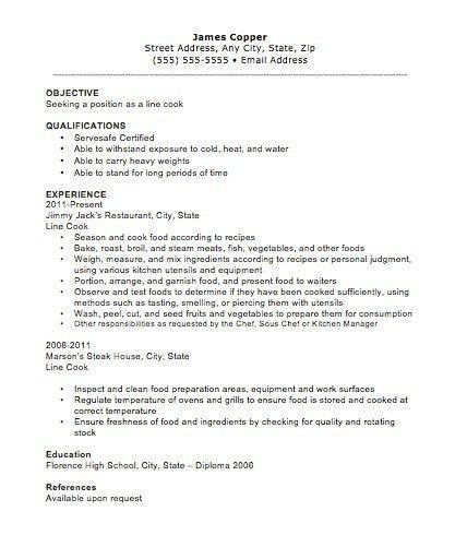 chef resume cv great. sous chef resume example. line cook resume ...