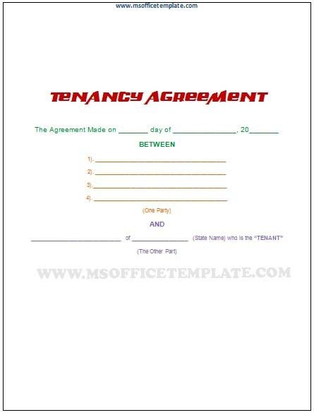 Microsoft Office TemplatesTenancy Agreement Template