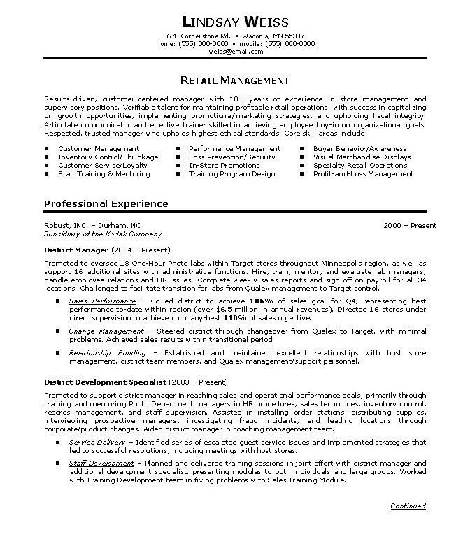 Resume Examples Retail Manager. outside sales resume sample ...