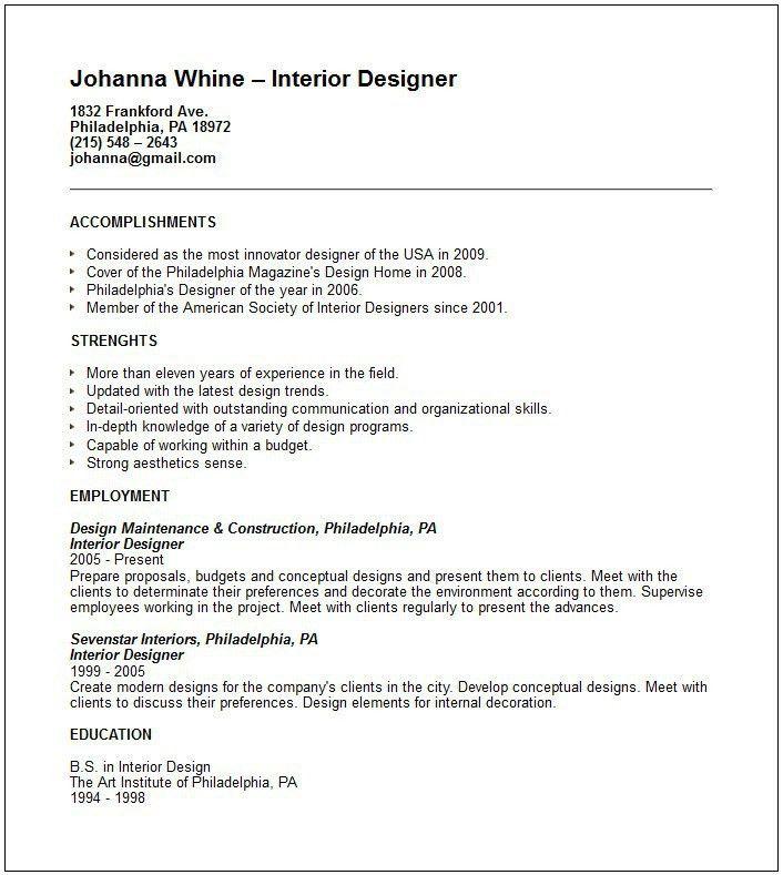 Interior Designer Sample Resume Best Interior Design Resume - Interior design resume