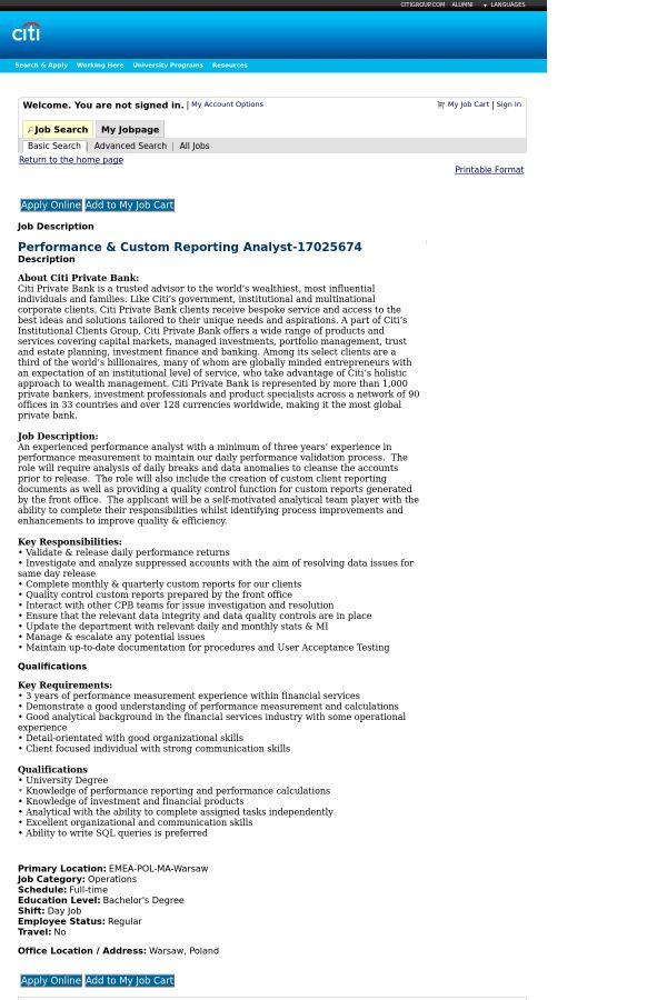 Performance & Custom Reporting Analyst job at Citi in Warsaw ...