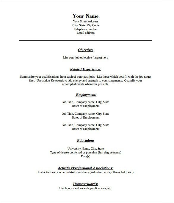 free printable blank resume template