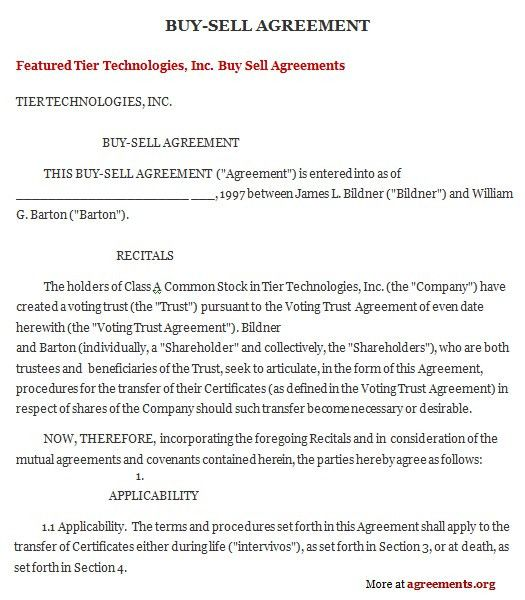 8 Best Images of Free Buyout Agreement Template - Buy Sell ...