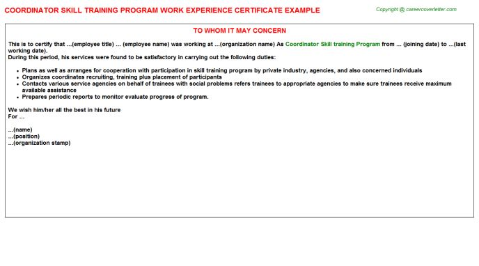 Coordinator Skill Training Program Work Experience Certificate