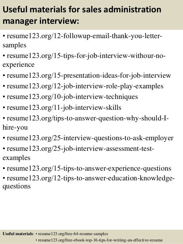 Top 8 sales administration manager resume samples