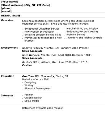 retail sales resume overview employment - Writing Resume Sample ...